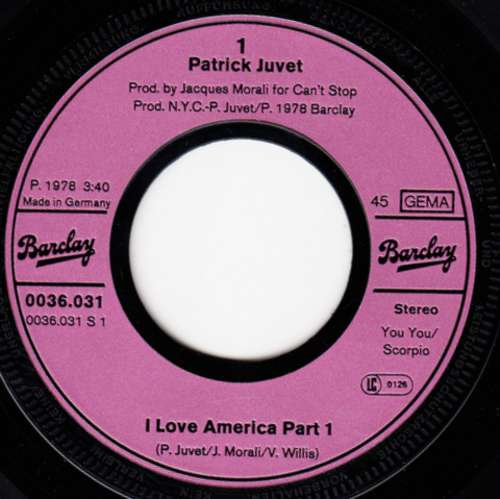 Patrick-Juvet-I-Love-America-Part-I-amp-II-7-034-Sin-Vinyl-Schallplatte-14869